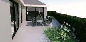 naturelle verharding moderne woning met zwemvijver tuinontwerp met landelijk karakter