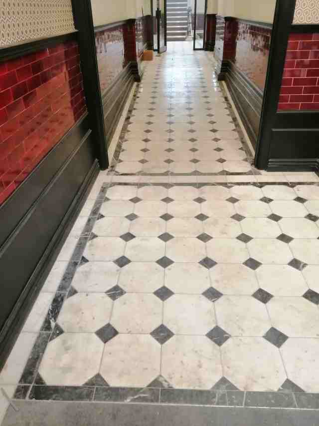White Mable Hallway Before Polishing Cardiff Bay Listed Building
