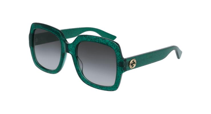 En annat par oversized men som är lite mer diskreta är dessa Gucci-  GG0036S-004 som du hittar i färgerna Havana Blått Rött eller som här glitter  grönt. 029b3e460836f
