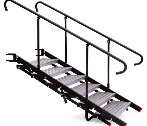 Folding Adjustable Stairs Stageright Sports Entertainment   Folding Stairs With Handrails   Elderly   Hydraulic   Hand Rail   Aluminum   Interior