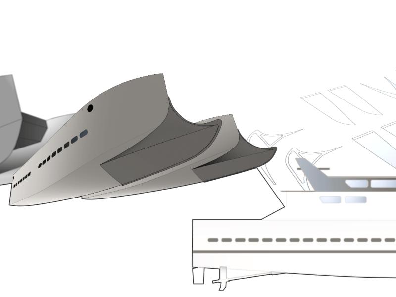 Etude rostre aluminium catamaran 12m pêche
