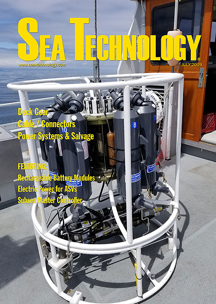 Cover of the July 2019 issue of Sea Technology magazine
