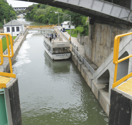 A Staircase of locks carries the canal up the Niagara Escarpment.