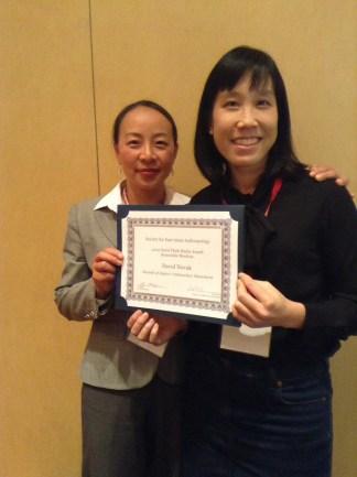 Li Zhang and Jenny Chio present the 2015 Plath Media Prize