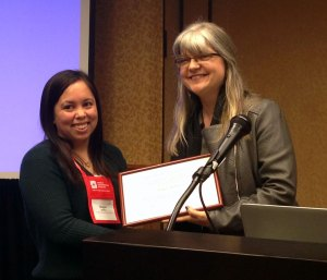 Carolyn Stevens awards Bestor Prize honorable mention to Megan Steffen