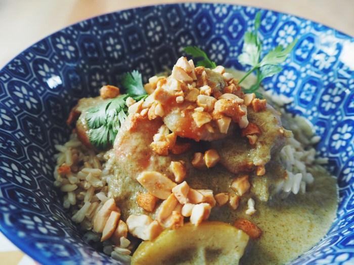 curry vert crevettes au lait de coco