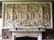 plasterwork overmantle showing the judgement of paris, dated 1620
