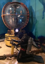 Jeffrey and Donald in the NEMO in the Underwater Construction Team exhibit