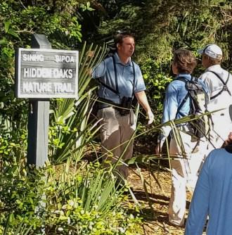 David Gardner leading along the SINHG/SIPOA Hidden Oaks Nature Trail - Ed Konrad