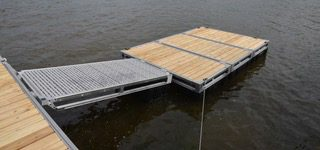 Seaco Marine L4 aluminum dock, dock floats, wood deck