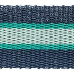 A navy and green stripped welcome mat made from old lobster pots.