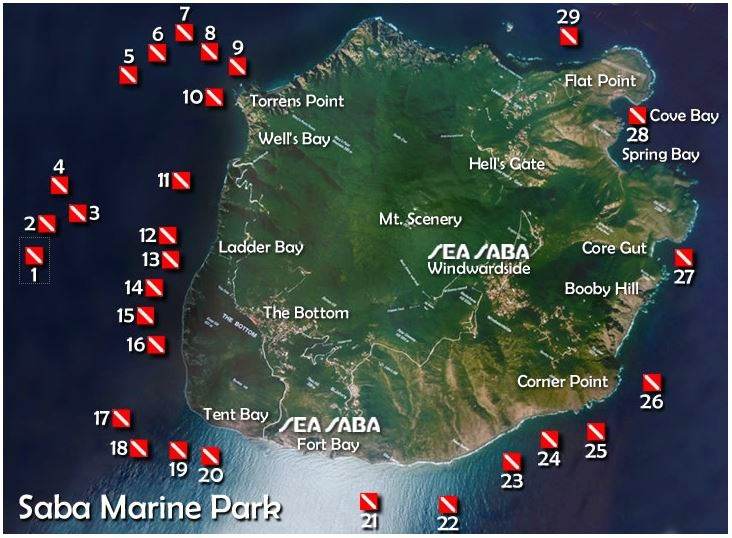 A map of Saba with all the dive sites of the marine park marked out.