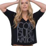 Shop: Blonde woman wearing a Consurfvation black t-shirt.