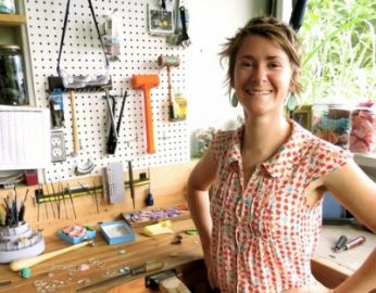 The owner of Nurdle in the rough - Kat - in her workshop.