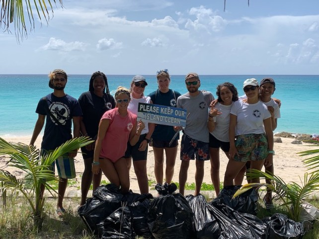 The first #cleanupforsharks beach clean takes place in the Bahamas
