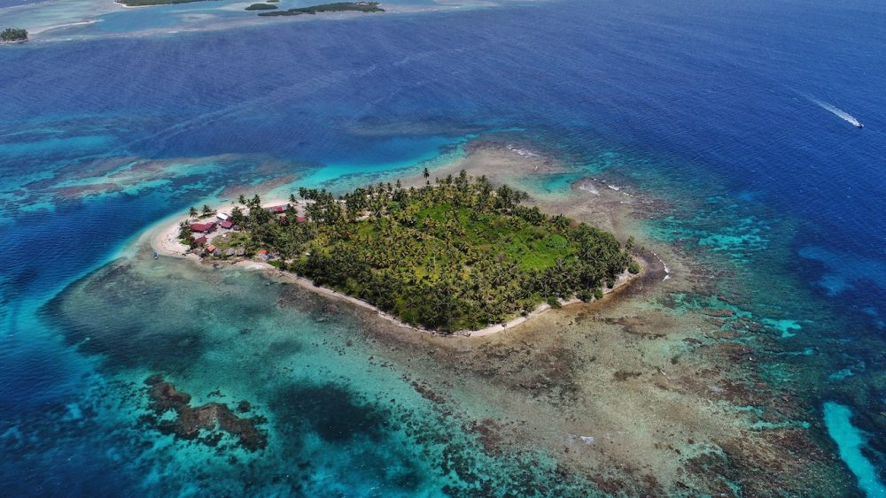 Remote island with coral reef.