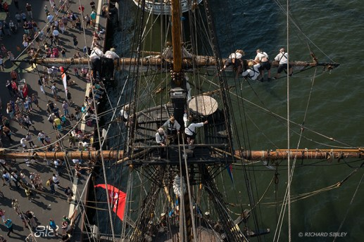 Starboard watch, preparing the ship for departure. Sail Amsterdam 2015