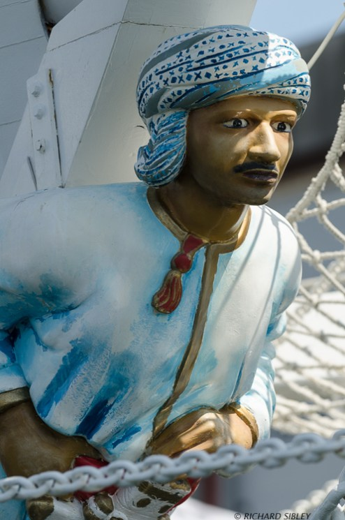 Figurehead on the Omani Barquentine Shabab Oman. One of my favourites, love the paintwork and Omani Style