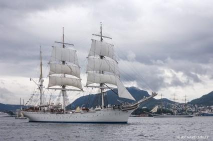 Norwegian Barque, Statsraad Lehmkuhl prepares to lead the parade of sail