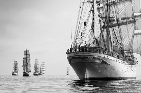 Sailors climbing aloft on the Norwegian Barque Statsraad Lehmkuhl.