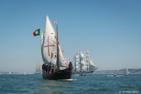 Caravele Vera Cruise, Portugal. In the background Venezuelan barque, Simon Bolivar