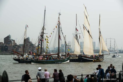 From Left to right, Excelsior, Swan of Lerwick and Cornish Lugger Greyhound. Far right Polish full rigger Dar Mlodziezy