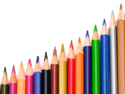 A row of colored pencils. Psychology of color in marketing Seafoam Media blog