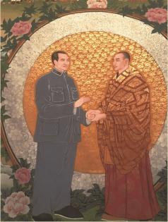 Commander in chief Zhu De and Living Buddha Ge Da