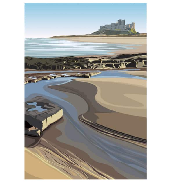 Bamburgh Castle from the Beach - Portrait
