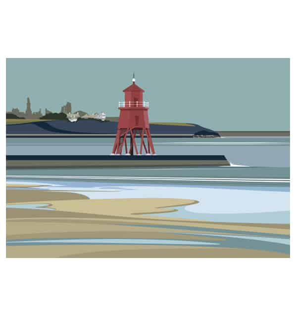 South Shields. Herd Groyne Lighthouse - Landscape
