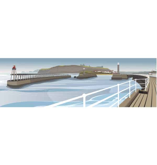 Whitby Harbour and Piers - Panoramic