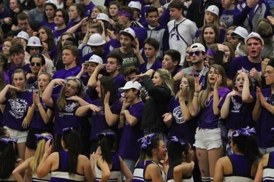 The Anacortes student section cheers along with the cheerleaders during the girls game.