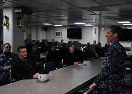 170214-N-YG414-167 YOKOSUKA, Japan (Feb. 15, 2017) - Rear Adm. Marc H. Dalton, Commander, Amphibious Force 7th Fleet, talks with leadership aboard the U.S. 7th Fleet flagship USS Blue Ridge (LCC 19), during an All Hands Call. Blue Ridge is in an extensive maintenance period in order to modernize the ship to continue to serve as a robust communications platform in the U.S. 7th Fleet area of operations. (U.S. Navy photo by Mass Communication Specialist Seaman Patrick Semales/ RELEASED)