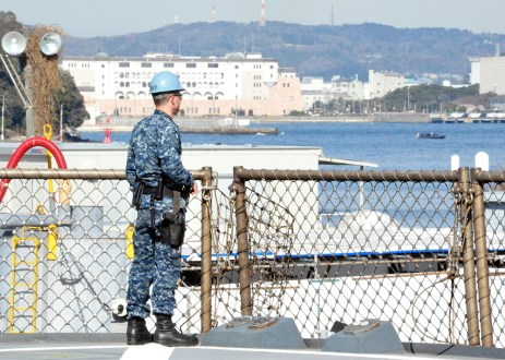170222-N-YG414-238 YOKOSUKA, Japan (Feb. 22, 2017) - Boatswain's Mate 2nd Class John Sutcliffe from Philadelphia, attached to the U.S. 7th Fleet flagship USS Blue Ridge (LCC 19), stands Chief of the Guard on the ship's main deck. Blue Ridge is in an extensive maintenance period in order to modernize the ship to continue to serve as a robust communications platform in the U.S. 7th Fleet area of operations. (U.S. Navy photo by Mass Communication Specialist Seaman Patrick Semales/ RELEASED)