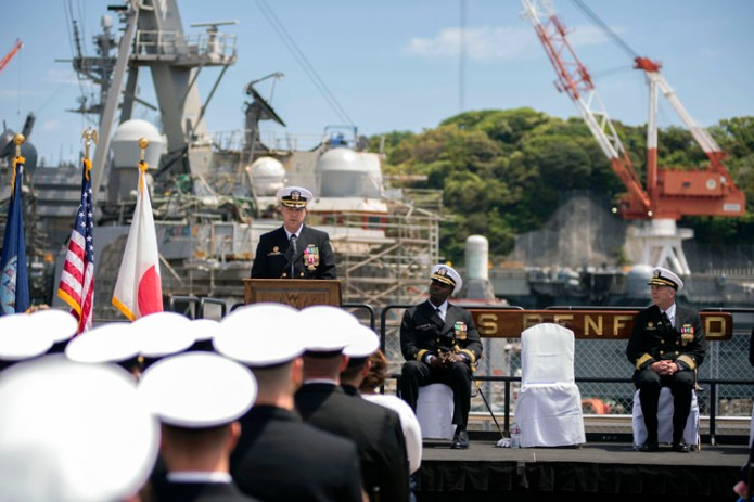 170505-N-WM647-206 YOKOSUKA, Japan (May 5, 2017) Cmdr. Justin Harts, off-going commanding officer of the Arleigh Burke-class guided-missile destroyer USS Benfold (DDG 65), addresses the crew during a change of command ceremony. Benfold is forward deployed to the U.S. 7th Fleet area of responsibility in the Indo-Asia-Pacific region. (U.S. Navy photo by Mass Communication Specialist 3rd Class Elesia Patten/Released)