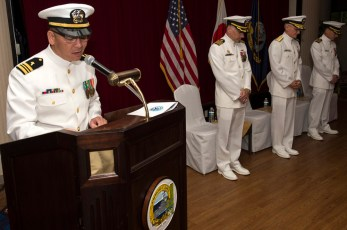 YOKOSUKA, Japan (June 7, 2017) Lt. Cmdr. Joselito Tiongson leads benediction during the Defense Service Office (DSO) Pacific change of command ceremony at Fleet Activities (FLEACT) Yokosuka. Capt. David M. Harrison assumed command and relieved Capt. James M. Lucci as DSO Pacific commanding officer. Attorneys with DSO provide legal representation and advice to military service members on defense-related topics. (U.S. Navy photo by Mass Communication Specialist 2nd Class Jess E. Toner/Released)