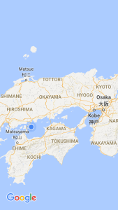 Japan's Inland Sea, blue dot is where GoSeaCamping is located