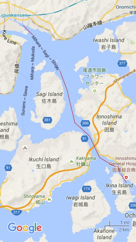 Mihara to Ikina Ferry route
