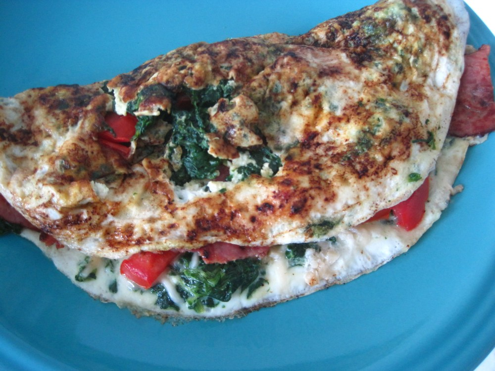 Egg White Omlette Loaded with Turkey Bacon and Veggies (1/3)