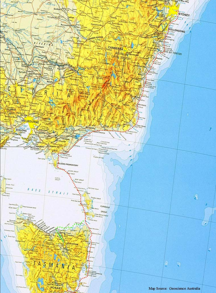 route map sydney tohobbart