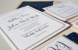 whimsical letterpress wedding invitation with custom monogram and polka dot envelope liner
