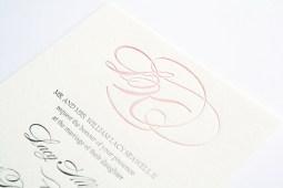 monogram letterpress wedding invitation