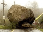 obstacle boulder in road