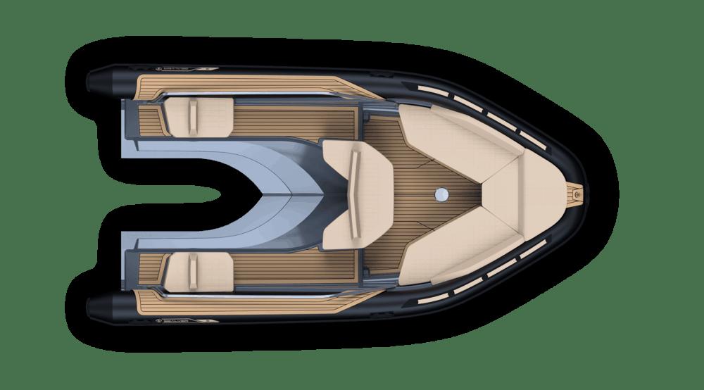 Sealver Premium waveboat ZLINE Z6 HEVO MEDIUM, premium tender, fun tender, jet boat, bateau jetski, 6m, 6 meters, annexe, annexe fun, boat, bateau, tender yacht, annexe yacht, design, sportif, sun beds, sun bath, bains de soleil, wave boat, intérieur, interior, carré arrière, plan de pont, vue de haut, compatible jetski Kawasaki, compatible jetski Yamaha, compatible jetski Seadoo, extension seadoo, extension Yamaha, extension Kawasaki
