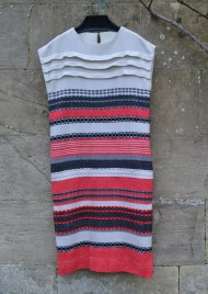 Fi, Southern Rhodesia, 1966. A friend wove the fabric and this was the only dress I could make as it was not wide enough for any darts apart from the horizontal, decorative pleats across the bust. Made in Southern Rhodesia probably about 1968 the dress now lives in Bath but I am too large to wear it