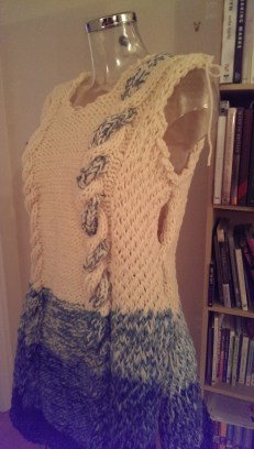 The final garment pinned together - over 40 hours of knitting!