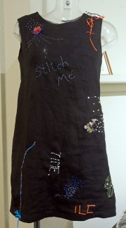 Graffiti shift dress at start of shiftWorks exhibiting in Yeovil as part of Somerset Art Weeks early October 2015
