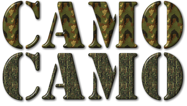 text with a camouflage seamless texture