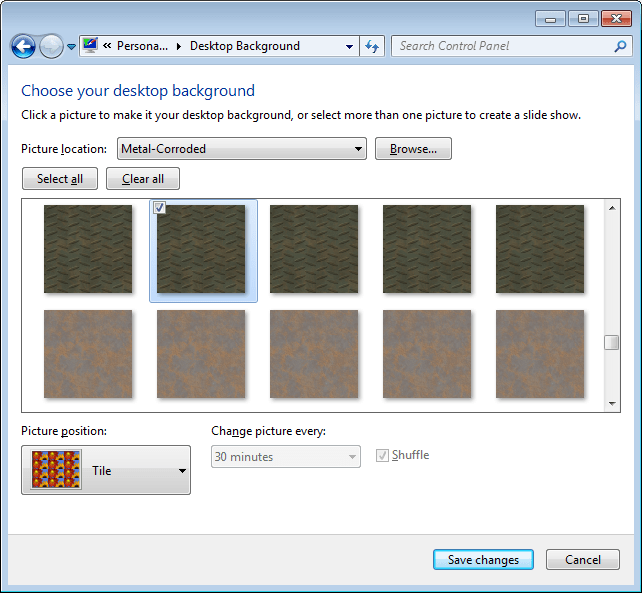 Selecting seamless texture to use as Windows desktop background