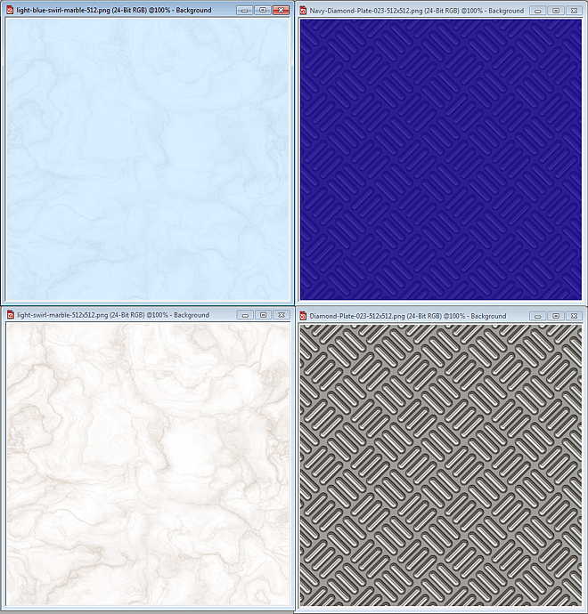 Samples of seamless textures tinted to match Web site color scheme
